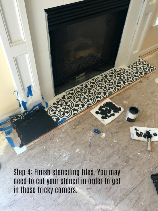 Modernize Your Farmhouse Fireplace With A Stencil Farmhouse - laminat für küche
