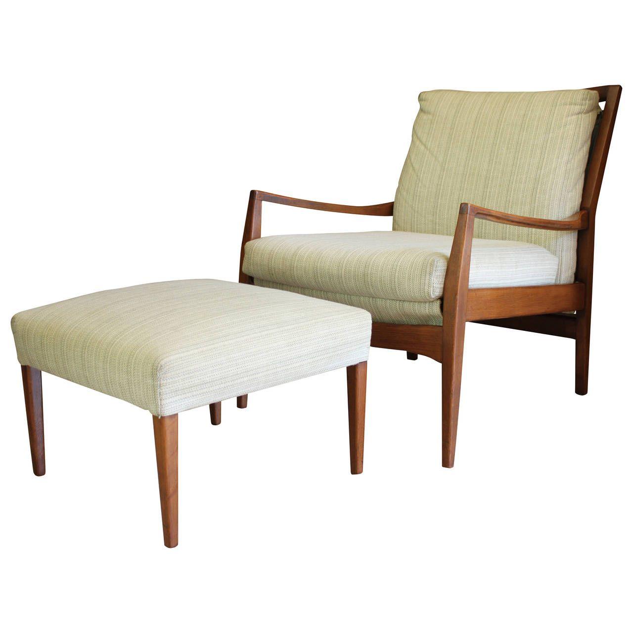 MidCentury Modern Danish Teak Lounge Chair and Ottoman