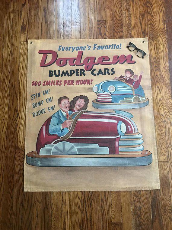 Carnival Dodgem Bumper Cars ~ Advertising Canvas Banner