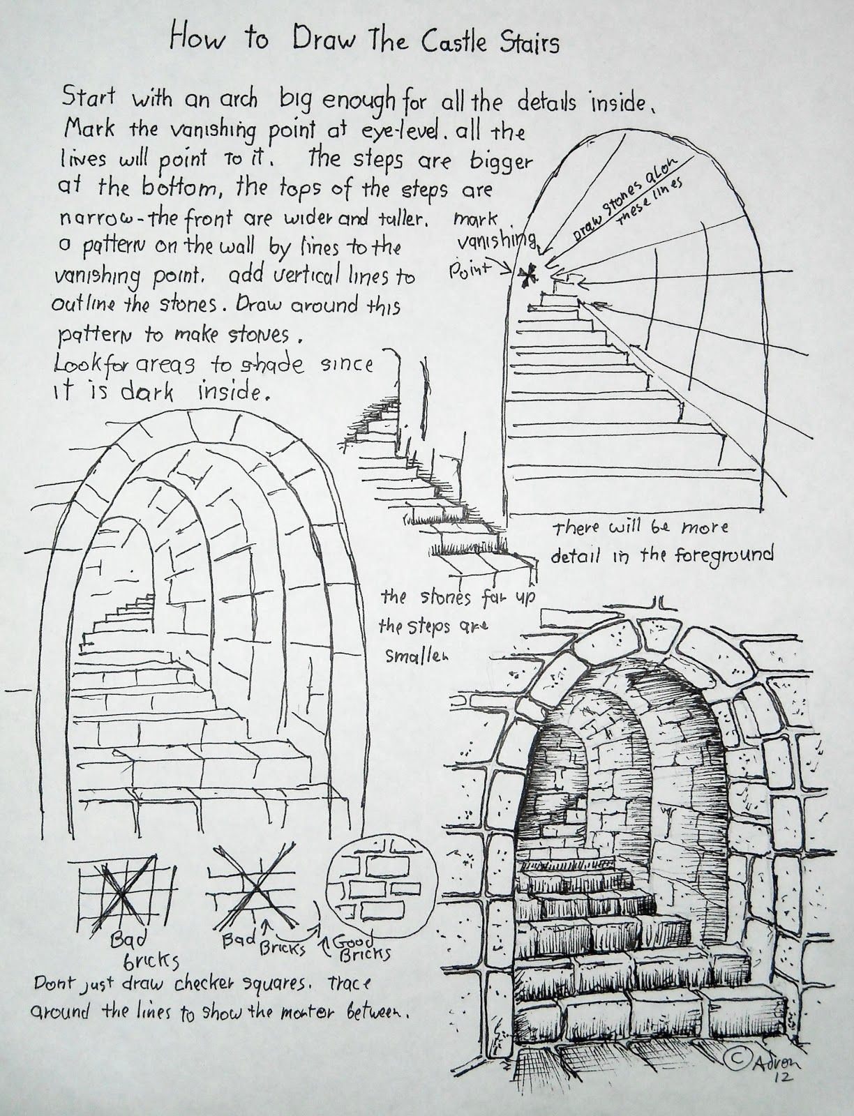 How To Draw Stone Stairs Lesson And Worksheet