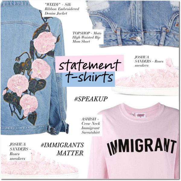 SAY WHAT: STATEMENT T-SHIRT by larissa-takahassi on Polyvore featuring polyvore, fashion, style, Topshop, Joshua's, Ashish and clothing