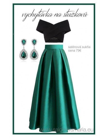 01822d6df2e Zelená saténová sukňa na stužkovú