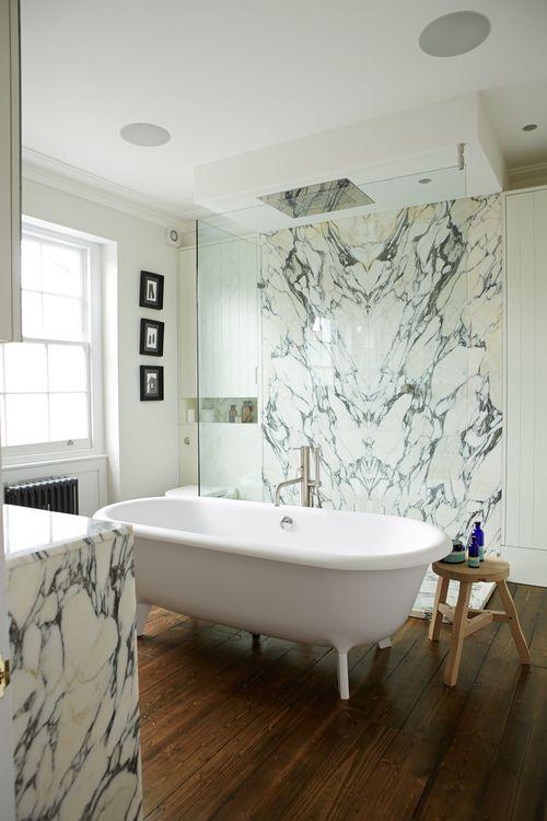 custom arabescato marble shower enclosure dornbracht big rain shower head boffi floorstanding. Black Bedroom Furniture Sets. Home Design Ideas