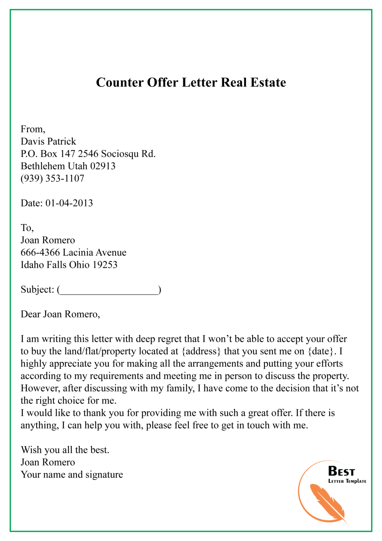 Counter Offer Letter Real Estate 01 Best Letter Template For Real Estate Offer Letter Template Letter Templates Letter Template Word Proposal Letter