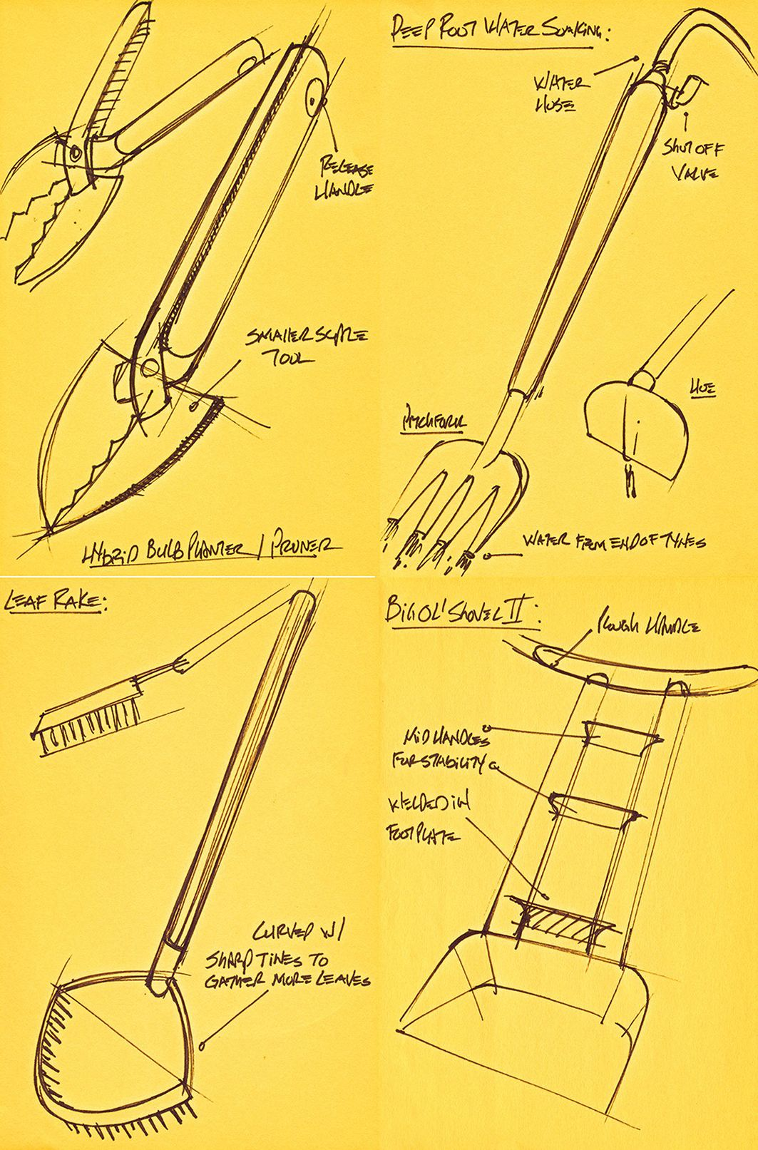 Ideation Sketches For Garden Tools. Sharpie On PostIt. James Owen Design +  Fiskars #