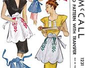 1940s Misses Half Apron Vintage Sewing Pattern, McCall 1231 One size fits all, uncut