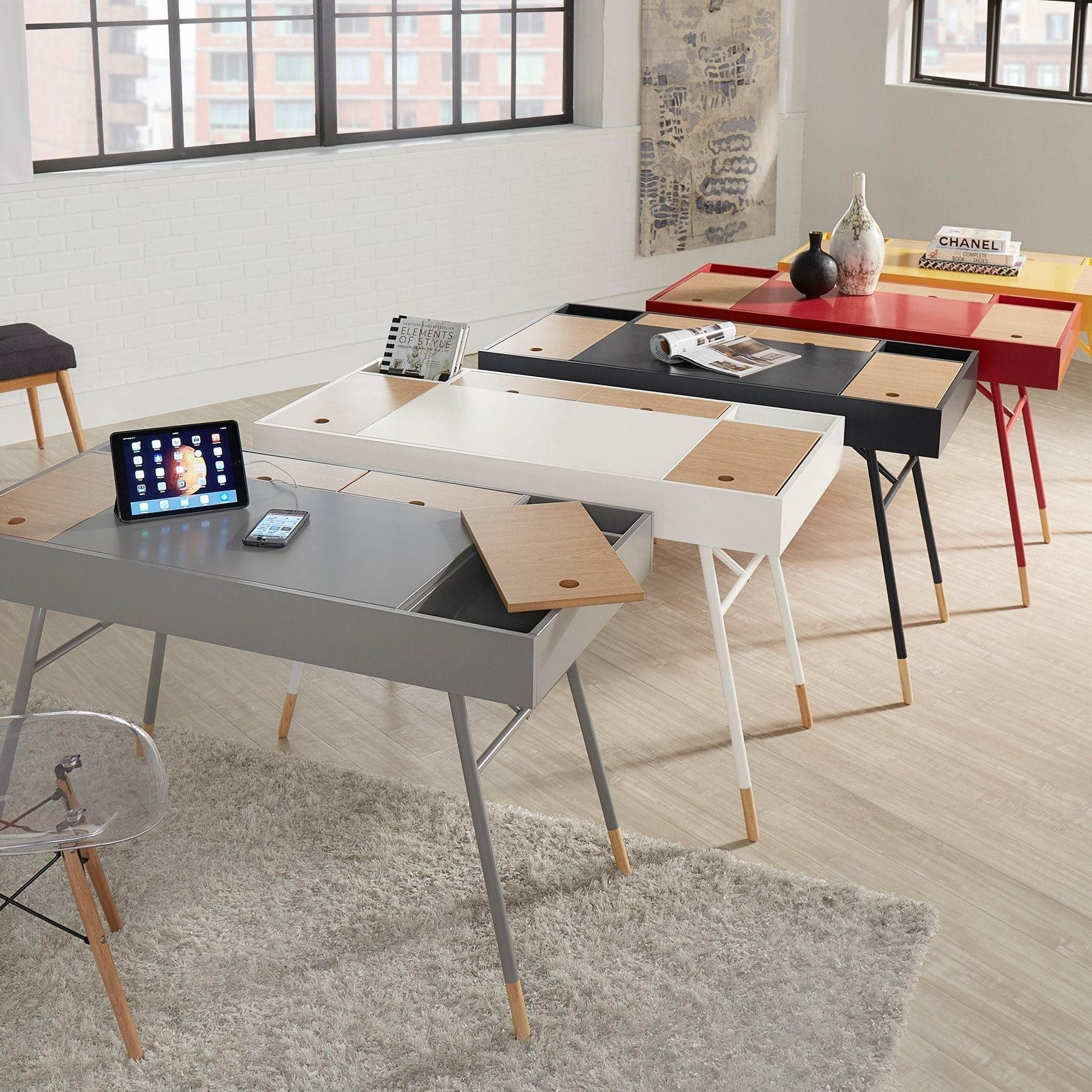 Aalto Two-tone Compartment Desk with Charging Station iNSPIRE Q Modern |  Overstock.com