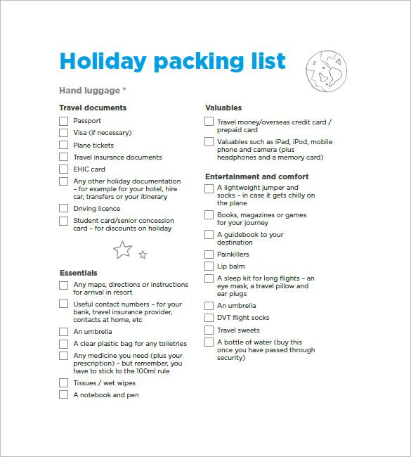 Holiday Packing List  Packing List Template With Several Common