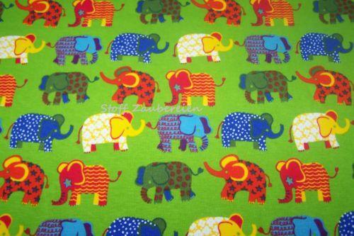 Baumwolljersey Kinder Jersey Elefanten Punkte Sterne Stoff kiwi J.Swafing Kairo