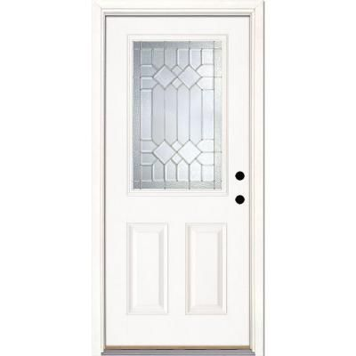 Feather River Doors 37 5 In X 81 625 In Mission Pointe Zinc 1 2 Lite Unfinished Smooth Left Hand Inswing Fiberglass Prehung Front Door 882190 The Home Depot Fiberglass Door Prehung Doors Front Doors With Windows