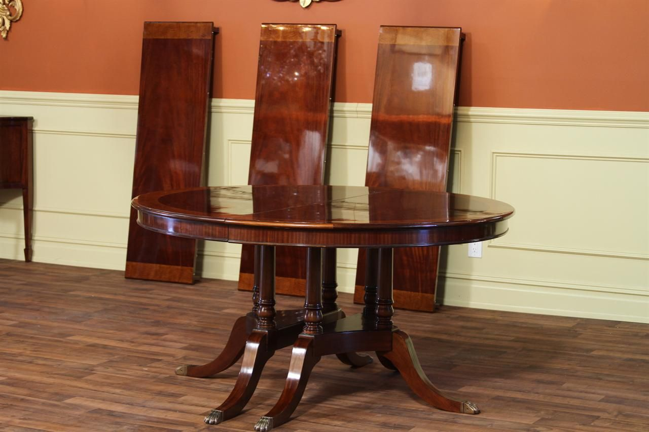 60 Inch Round Mahogany Table With Three Leaves