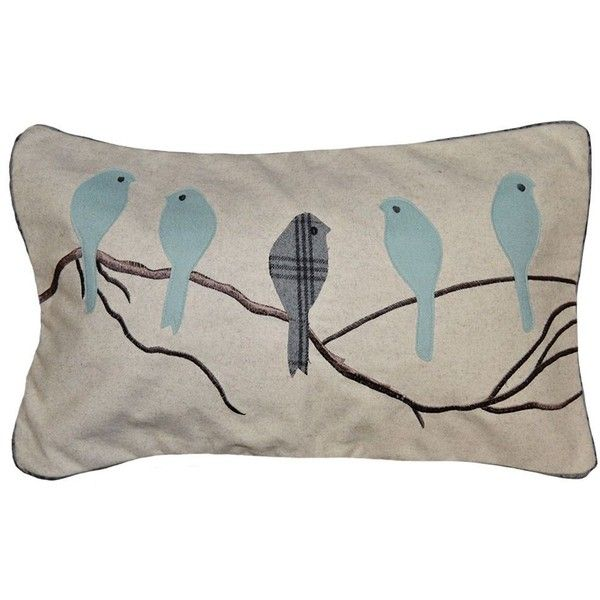 Spencer Home Decor Madelyn Birds Applique Oblong Throw Pillow (44 CAD) ❤ liked on Polyvore featuring home, home decor, throw pillows, blue, oblong toss pillows, blue toss pillows, blue home decor, blue throw pillows and bird home decor