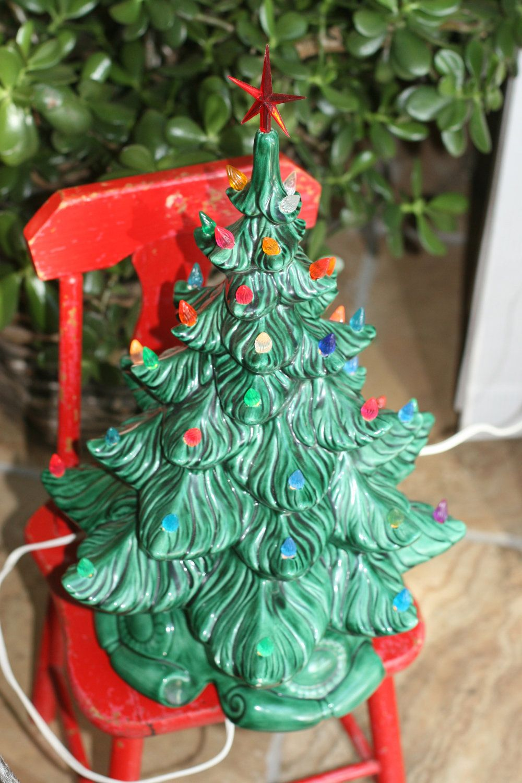 10 off sale vintage ceramic christmas tree lighted 1975 retro christmas tree old tree vintage tree christmas decor 8999 via etsy