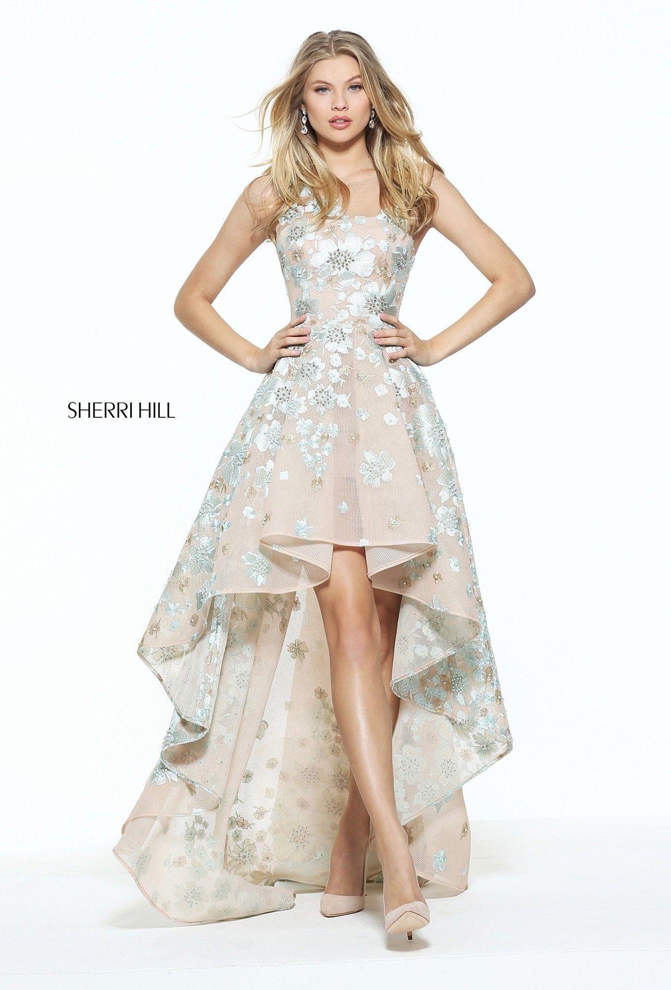 Sherri hill aqua floral nude hilo dress pinterest