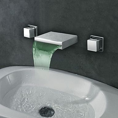 Waterfall Sink Faucet Wall Mounted Contemporary Widespread Mount Led Bathroom