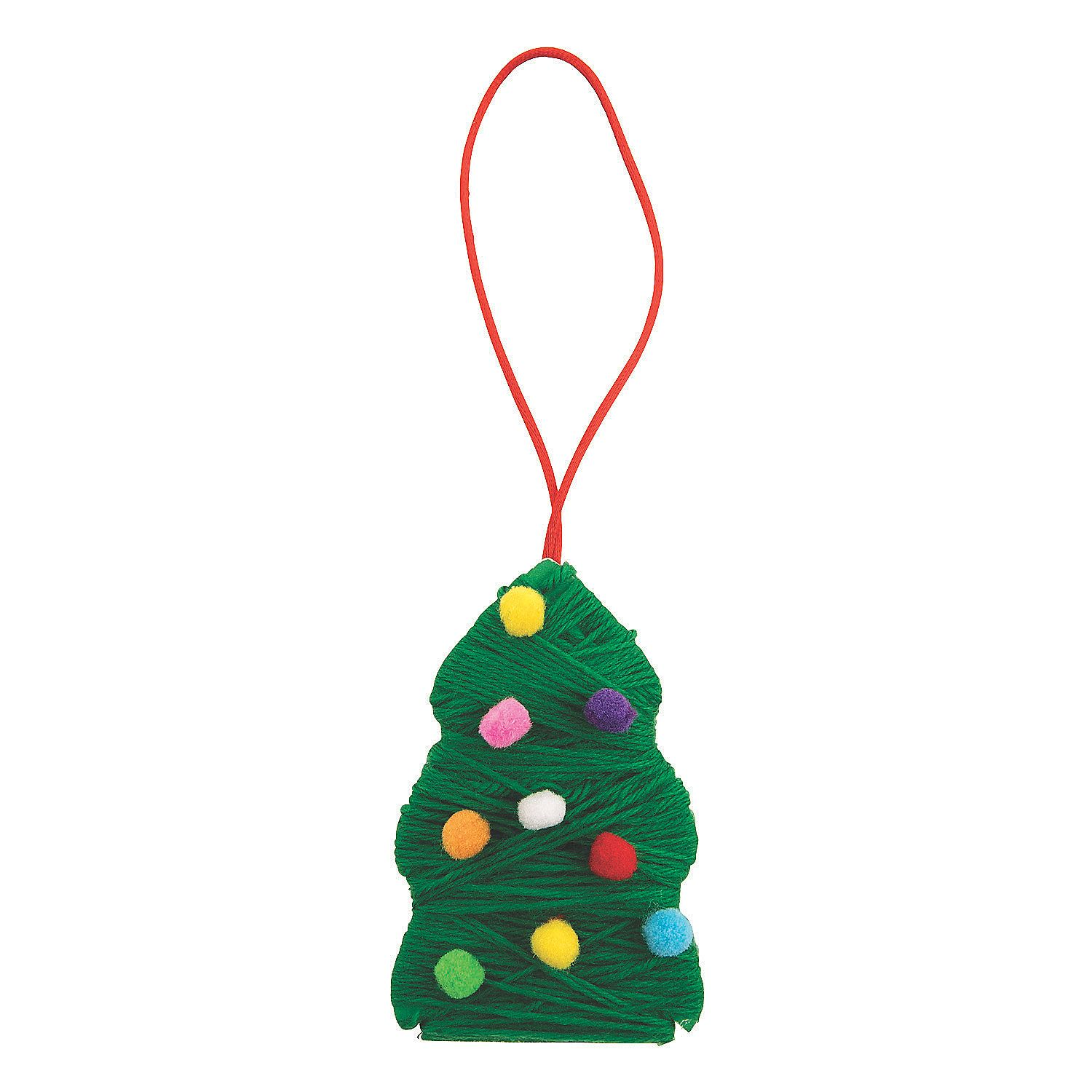 Christmas Tree Yarn Ornament Craft Kit Oriental Trading Christmas Tree Yarn Yarns Ornaments Yarn Crafts For Kids