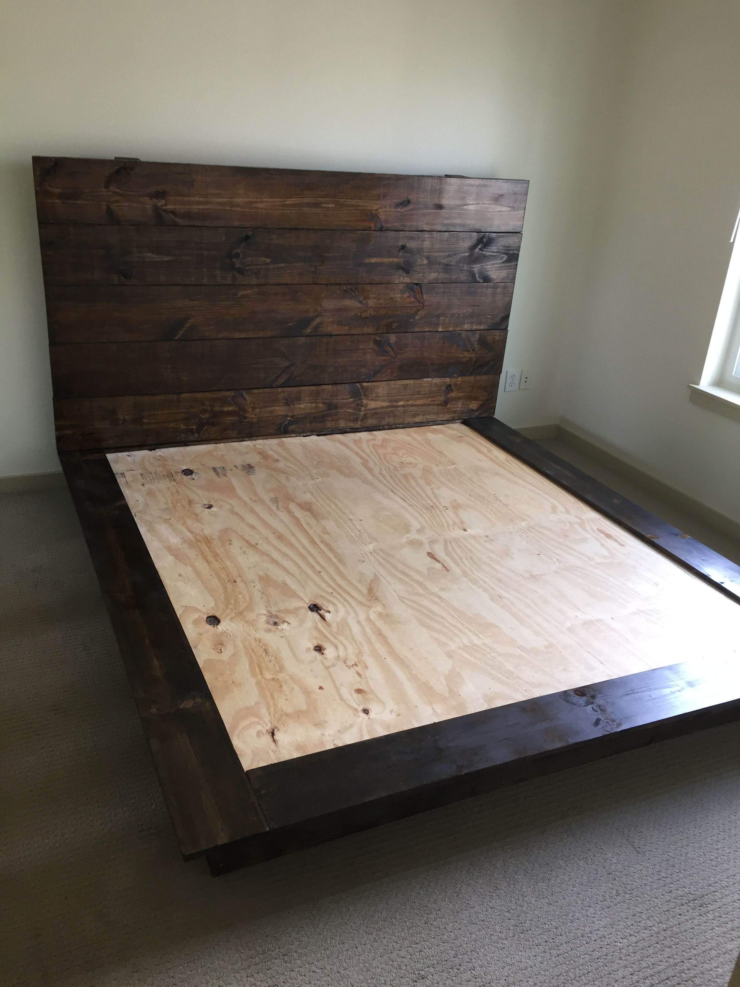 Cal King Headboard And Platform Frame Stain Dark Walnut King
