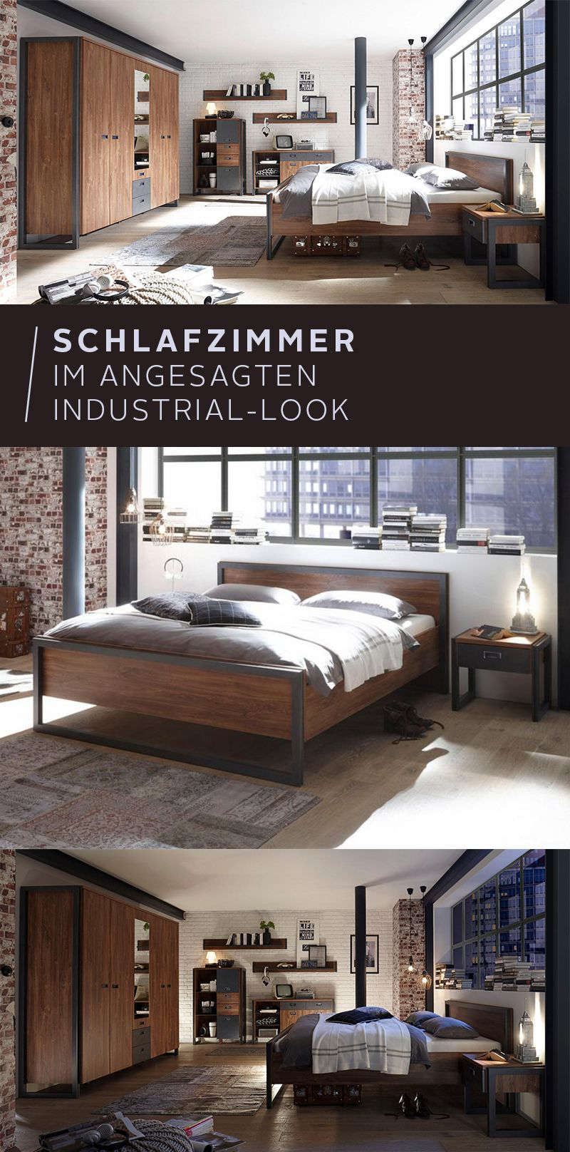 """Für dein Schlafzimmer im Industrial-Look! Das Bett """"Detroit ..."""
