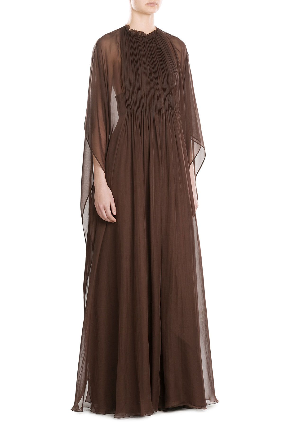 Valentinous floorgrazing silk dress is styled with a sheer chiffon