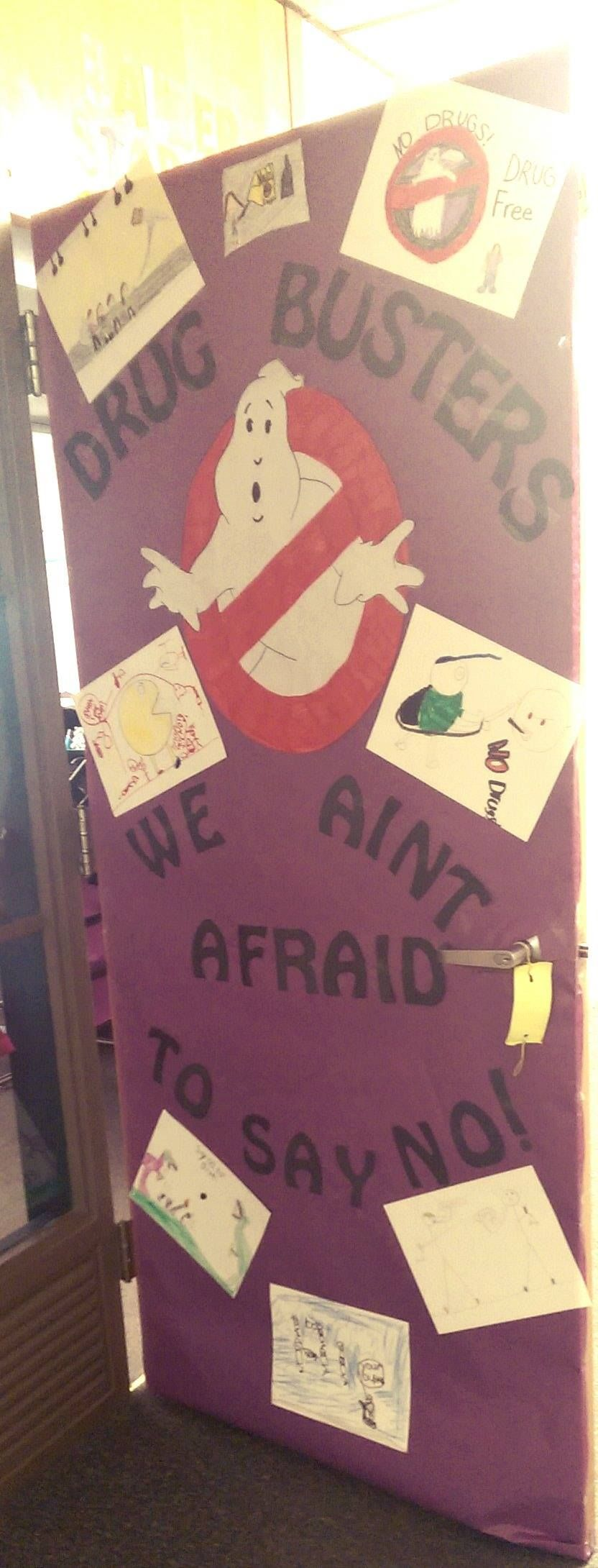 Free printable coloring pages red ribbon week - Red Ribbon Week Ghostbusters Themed Door I Ain T Afraid To Say No I Had The Kids Draw Pictures Of Them Busting Drugs Too