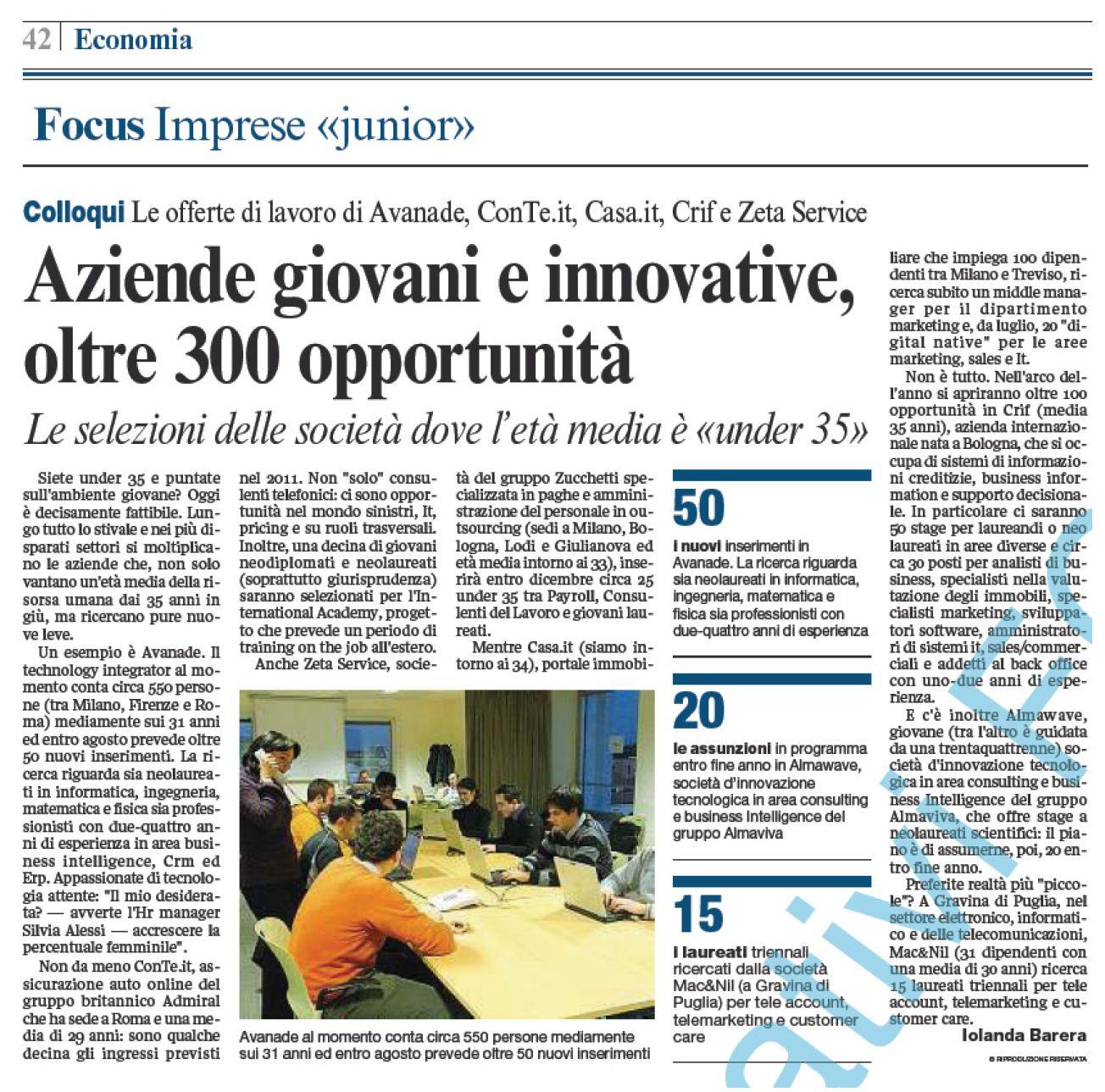 Corriere Della Sera 04 02 2011 Aziende Giovani E Innovative