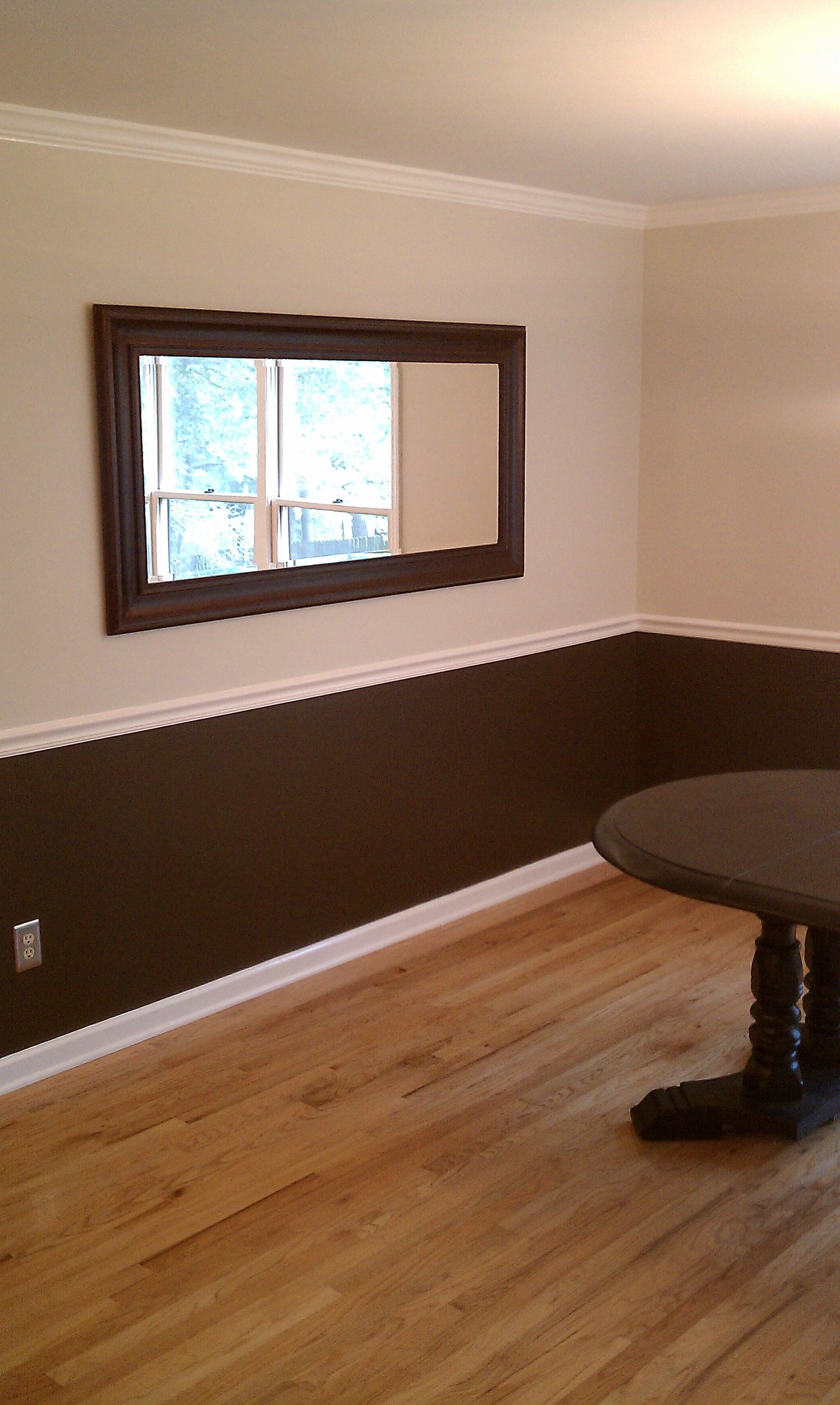 Two Toned Color With Dark Brown Trim In Bathroom Ben George Painting Make Your Space Beautiful C Brown Walls Living Room Brown Living Room Living Room Paint