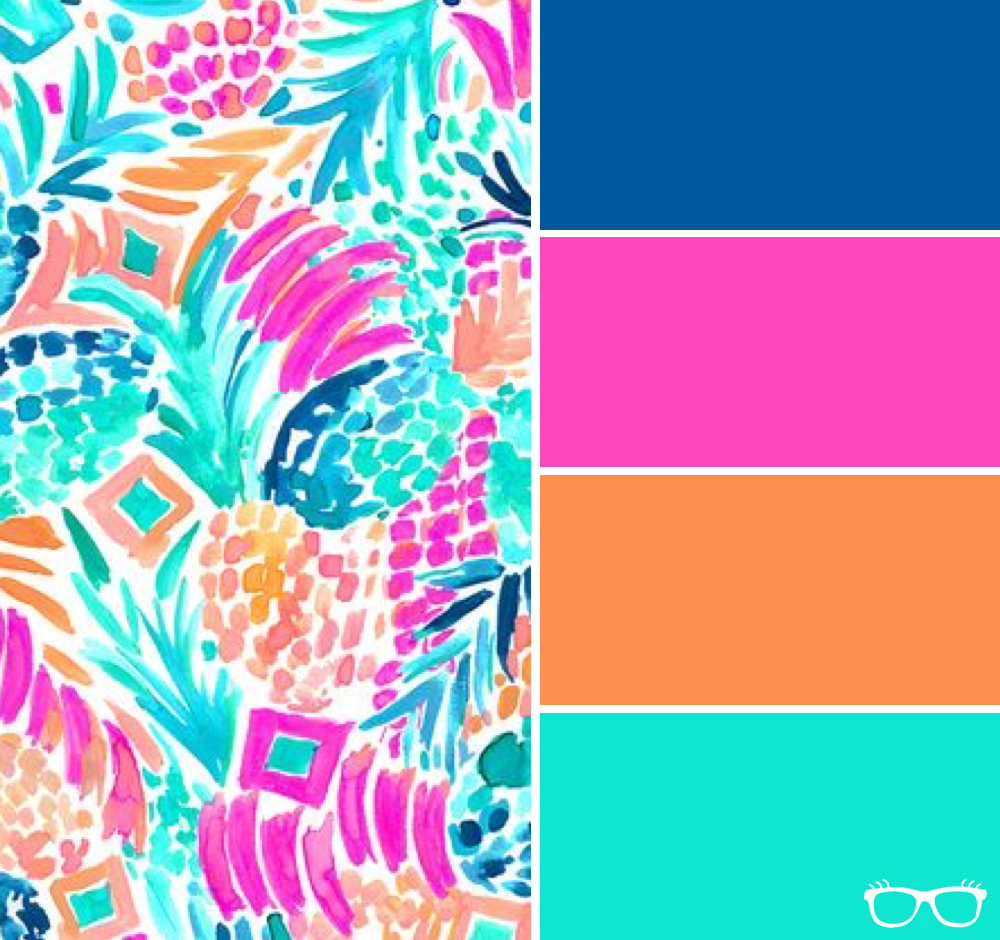 0aa8406f7938f Hot pink, navy blue, orange, and aqua - this neon color scheme is sure to  draw attention. Lily Pulitzer Inspired Color Palettes | She's a Geek