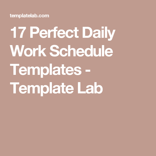 Perfect Daily Work Schedule Templates  Template Lab  Work