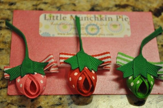 berrylicious trio hairclips  red green and by littlemunchkinpie, $10.00