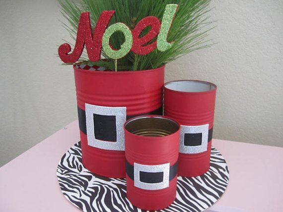 set of 3 santa tin cans decorated with a glittery buckle