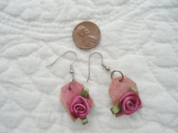 Hippie Boho Earrings Pink Suede Earring Rose by LandofBridget