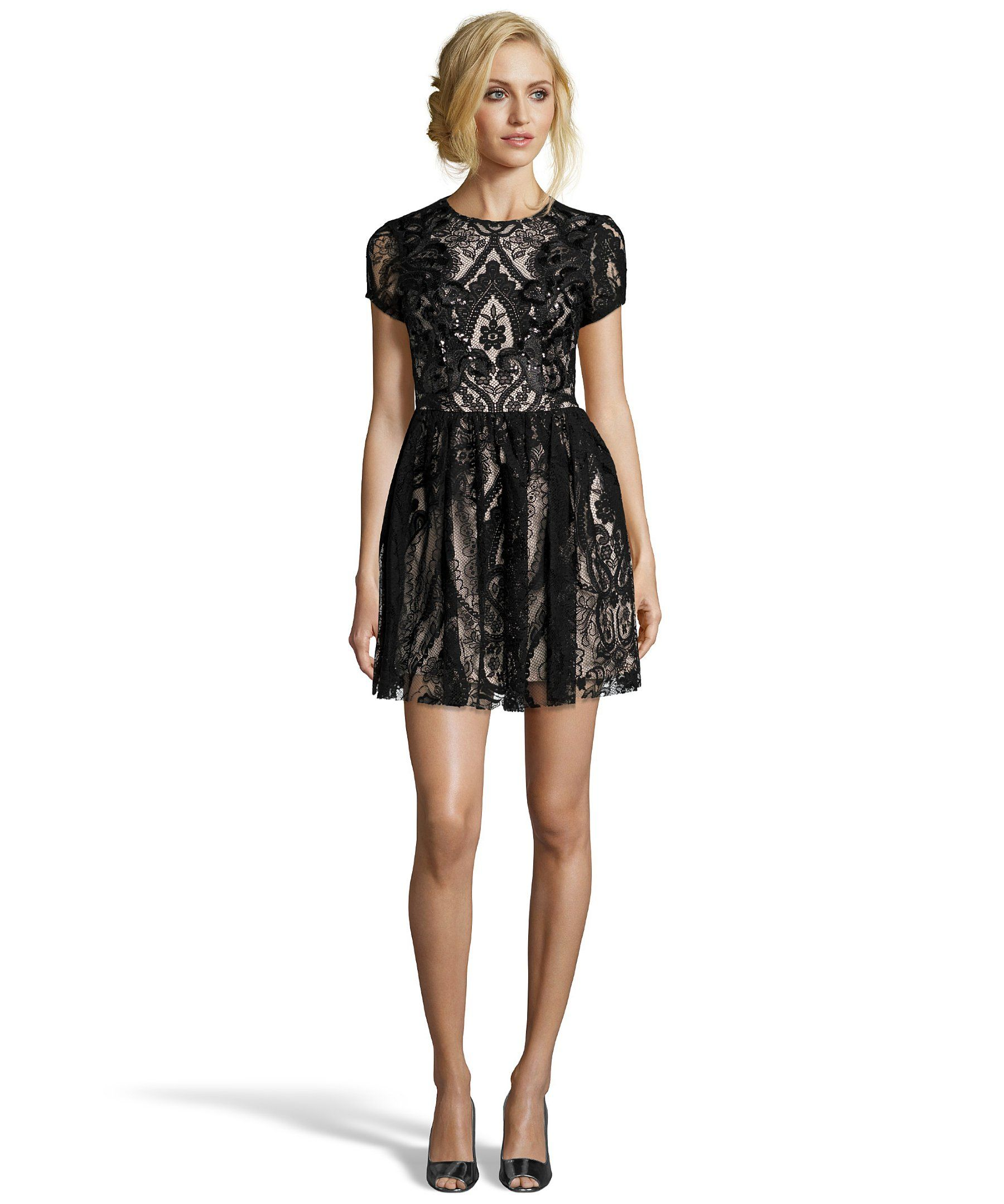 The wyatt black and nude sequined mesh lace fitandflare dress at
