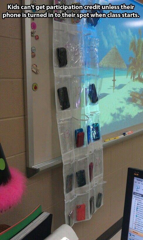 Smart idea! Classroom cell phone storage for teachers