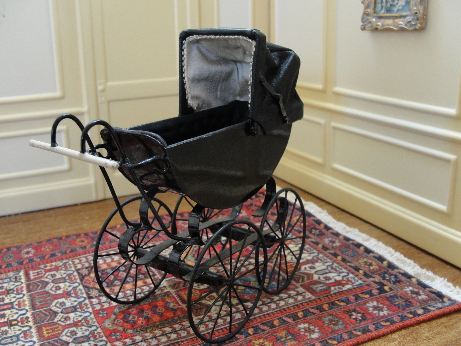 Victorian baby crib for sale - Dollhouse Victorian Baby Pram By Colin Yvonne Roberson England