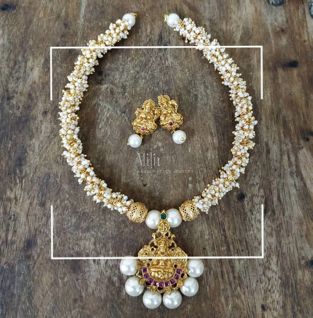 Matte finish lakshmi pendant cluster beaded necklace with matching