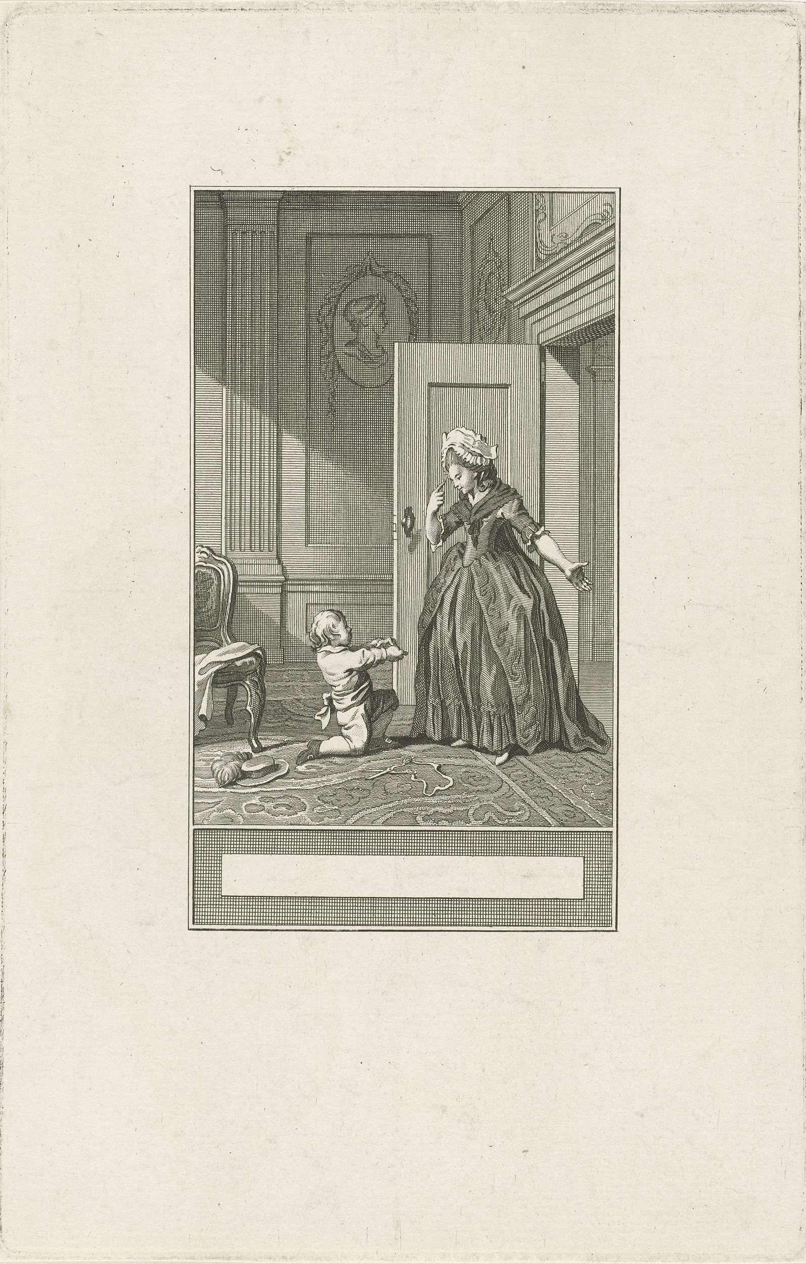 Noach van der Meer (II) | Het kind en de schaar, Noach van der Meer (II), Jacobus Buys, 1777 | Een kind heeft zich bezeerd met de schaar en toont zijn vinger aan zijn moeder.