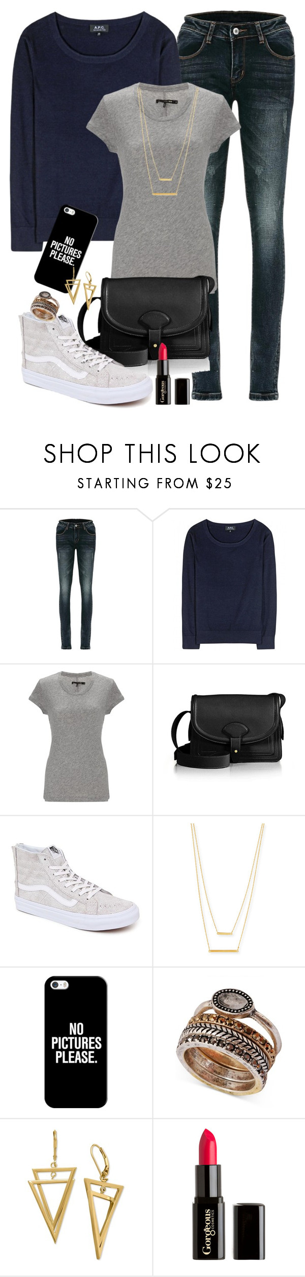 """""""Young Peter Hale"""" by nuria-bremer ❤ liked on Polyvore featuring A.P.C., rag & bone, Maiyet, Vans, Jennifer Zeuner, Casetify, Lucky Brand and Gorgeous Cosmetics"""