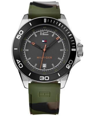 alhaisempi hinta uusi korkea valtuutettu sivusto Tommy Hilfiger Men's Green Camouflage Silicone Strap Watch ...