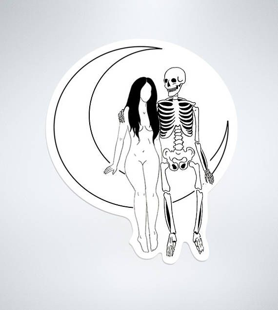 Lovers on the moon sticker death and the maiden sad girl