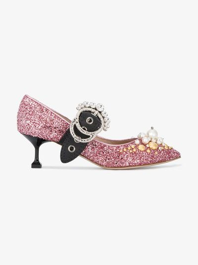 Miu Miu Mary Jane 55 Embellished Pumps