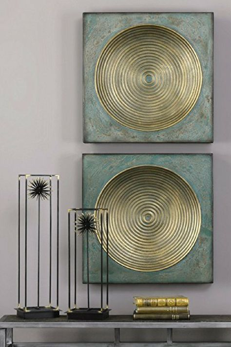 Beautiful distressed turquoise and gold vintage industrial wall art Perfect for those who love industrial geometric inspired art Great for many different types of homes f...