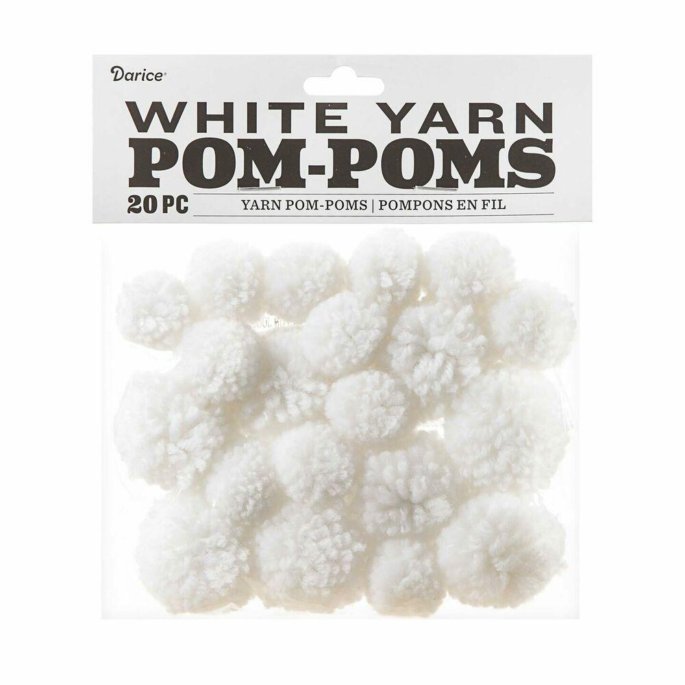 Darice Pom-Poms ~ WHITE 3 inch 4//Pkg #10181
