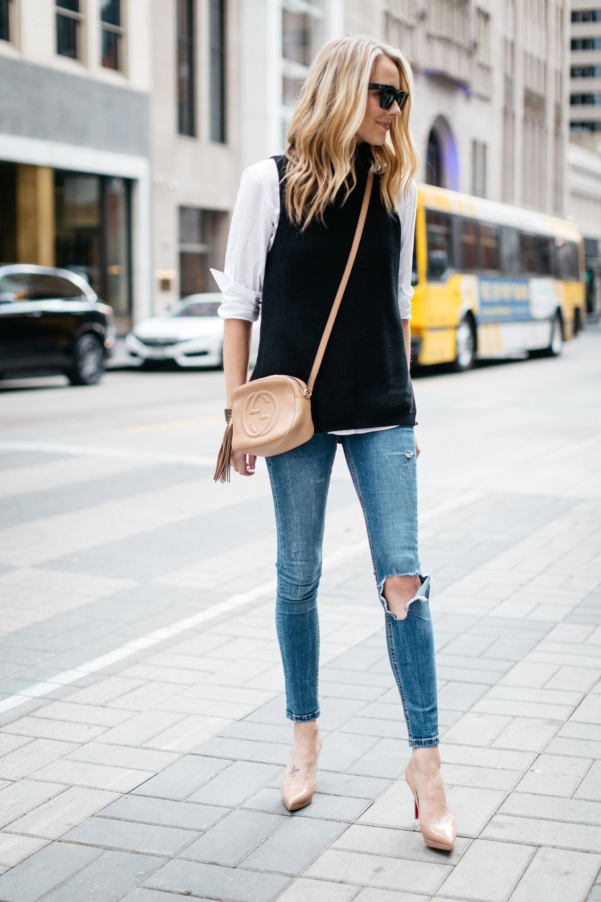 Fall Outfit, Winter Outfit, White Button Down Shirt, Black Sleeveless  Turtleneck Sweater, Denim Ripped Skinny Jeans, Gucci Soho Handbag, Nude  Pumps 4b09071602