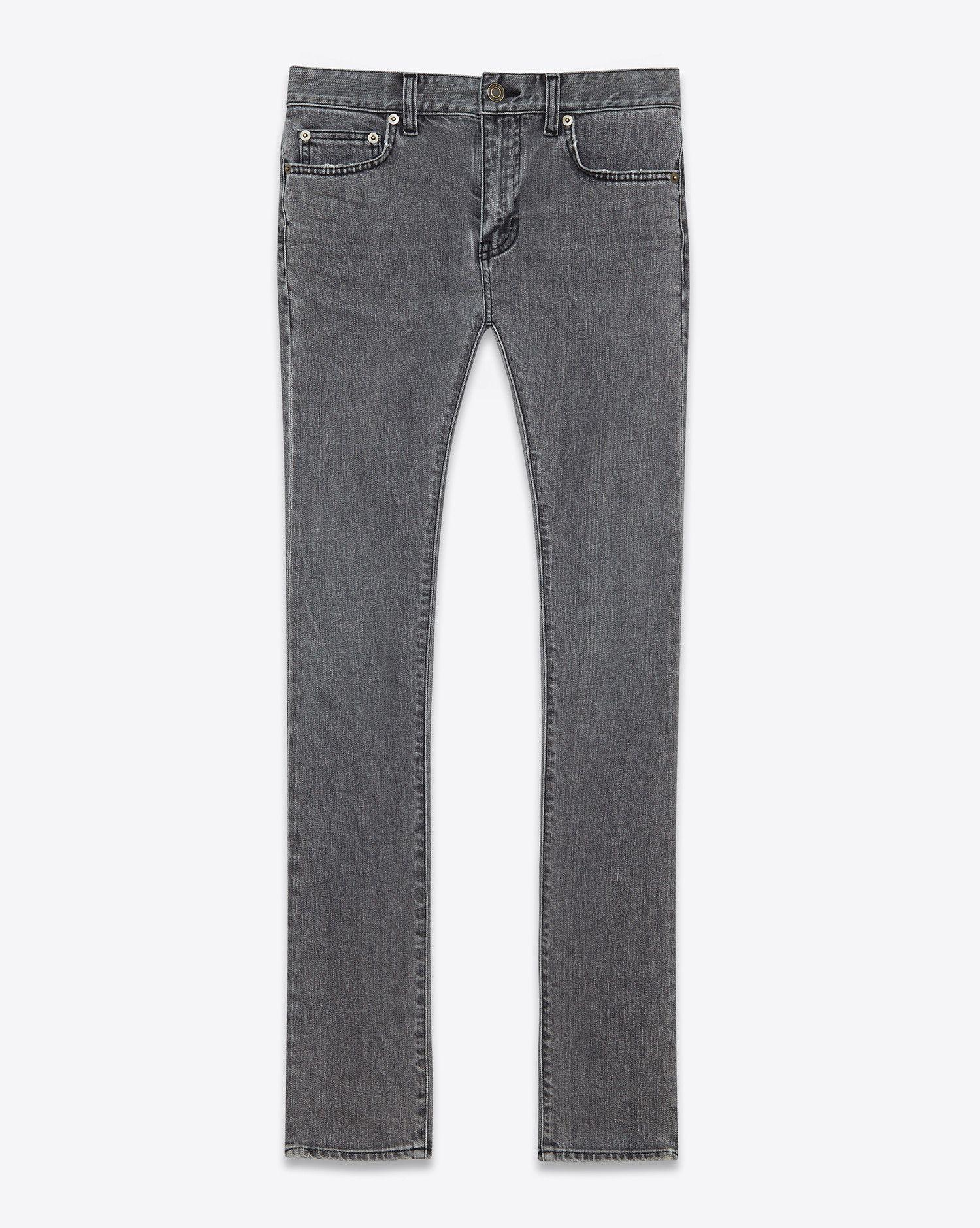 7438cb747c07 Jeans · Saint Laurent JEAN Skinny À TAILLE BASSE En Denim Strech Délavé Gris  ...