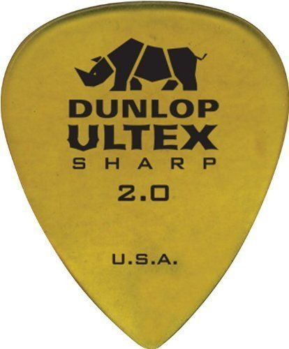 Jim Dunlop 433P200 Dun Ultex Sharp 6Pk 2.00 by Jim Dunlop. $4.38. Based off of a coveted vintage tortoiseshell pick in the Dunlop collection, the Ultex Sharp guitar pick has a rigid body tapering into a thinner and sculpted tip for enhanced control and speed. The seamless contoured edge surrounds the pick for more playing surfaces and tones. Engineered of Ultexthe Dunlop Ultex Sharp is virtually indestructible and delivers a crisp tone with quick release attack. A...