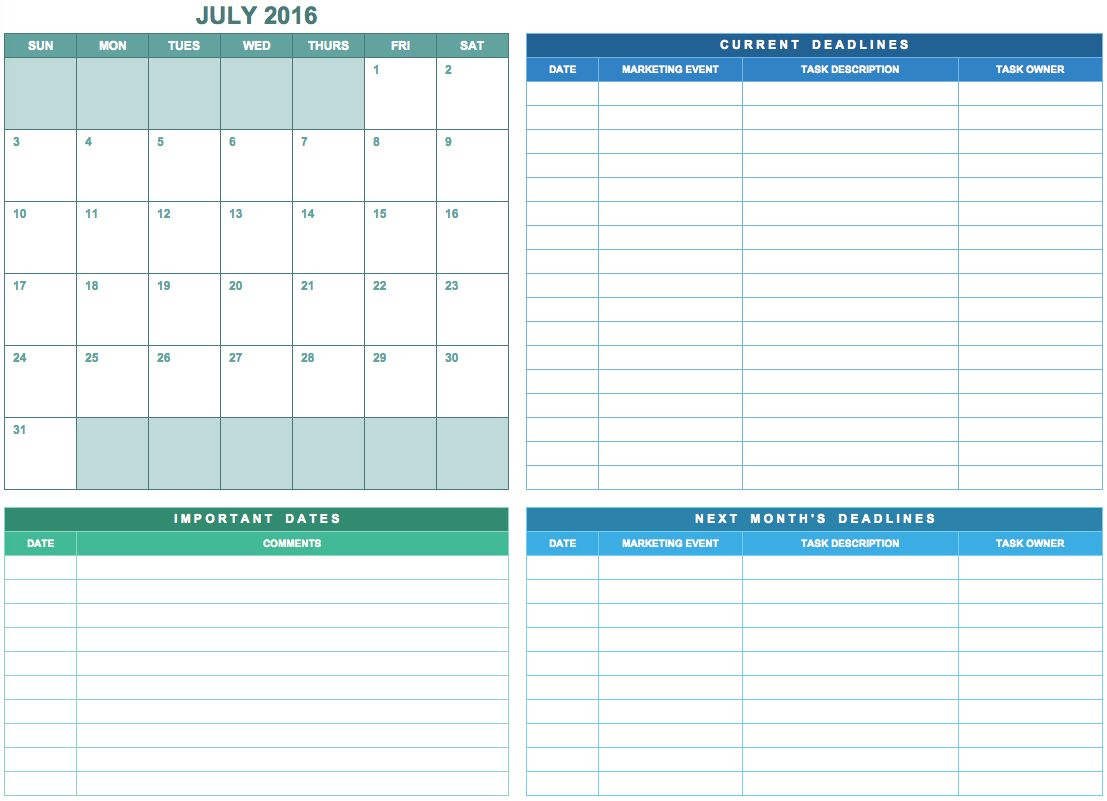 Free Marketing Calendar Templates In Google Excel And Word