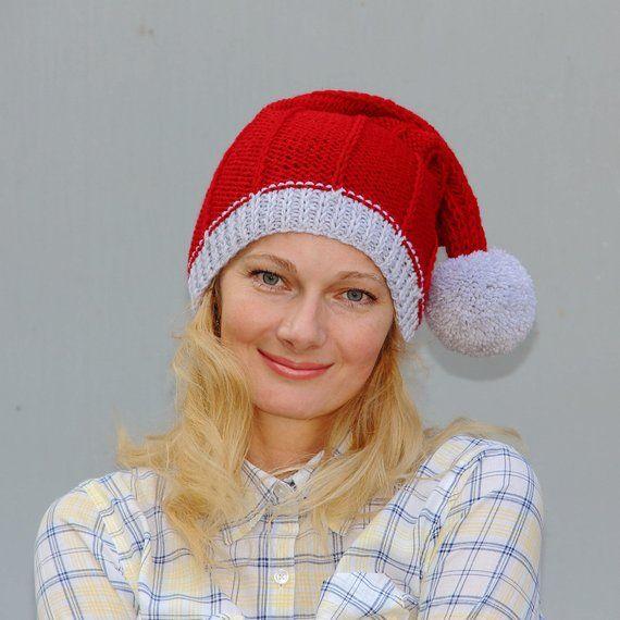 Knit santa hat women christmas beanie pom pom hat red christmas hat long  tail beanie santa clause ha fc270e0268