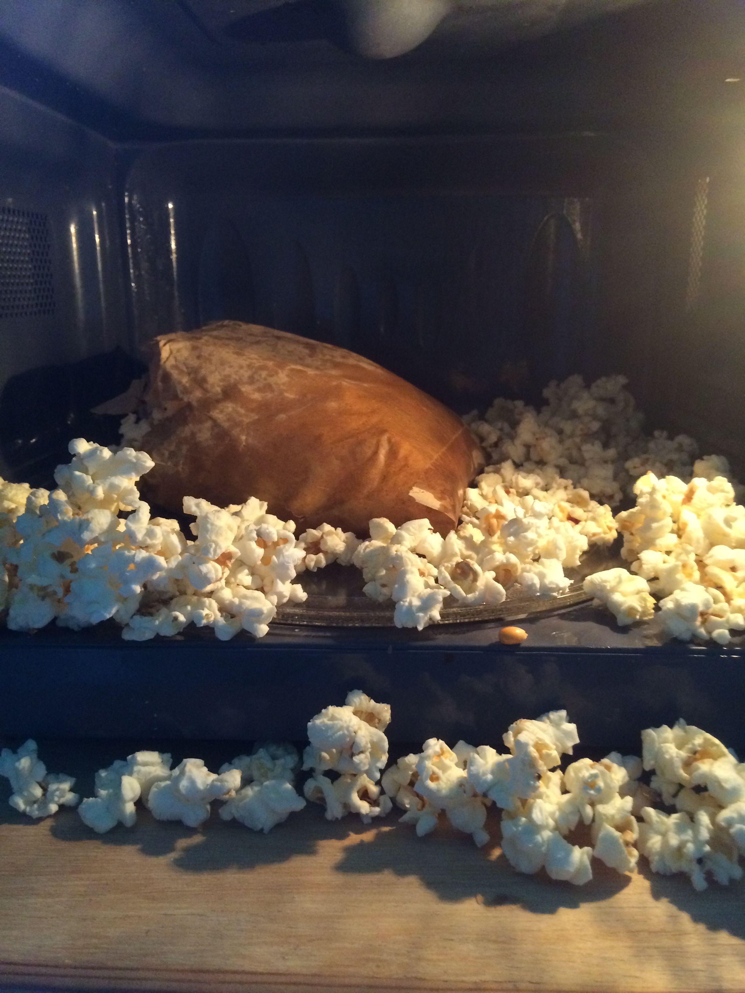 Microwave popcorn in a bag seemed a good idea...