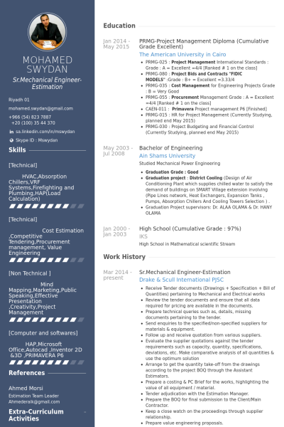 Sr Mechanical Engineer Estimation Resume Example Mechanical Engineer Resume Engineering Resume Engineering Resume Templates