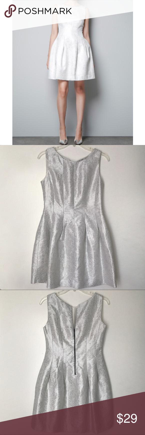 Zara Silver White Medium Tulip Dress Zara Silvery White Tulip Dress Size Medium Short Sleeveless Jacquard Print Fashion Clothes Design Fashion Design [ 1740 x 580 Pixel ]